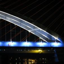 Iluminacja mostu kolejowego nad Martwą Wisłą