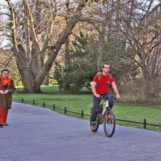 Rowerzysta w Parku Oliwskim