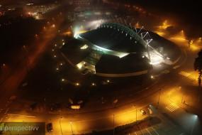 Gdynia Arena w wieczornej mgle - Aerialperspectivv