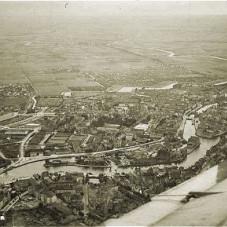 Panorama lotnicza Gdańska - widok w stronę Ołowianki i Dolnego Miasta