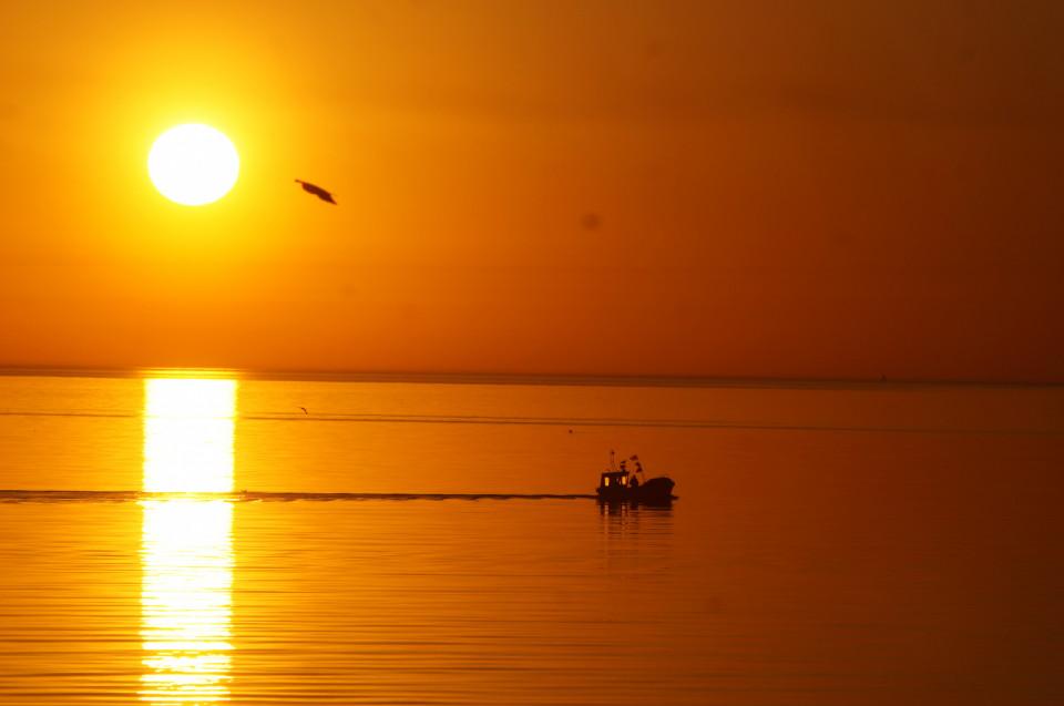 wczesny poranek i rybacy