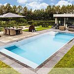 Przelewowy basen zewnętrzny Niveko Advance z korytem z szarego granitu
