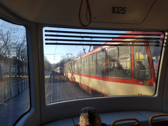Stoją tramwaje na Wojska Polskiego w stronę Oliwy