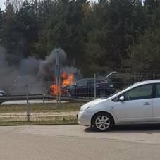 Pożar auta na Dąbrowie