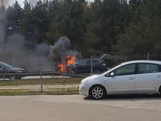 Pożar auta na Dąbrowie na zjeździe na obwodnicę
