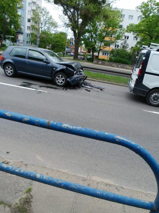 Stłuczka przy AWFiS w stronę Gdańska