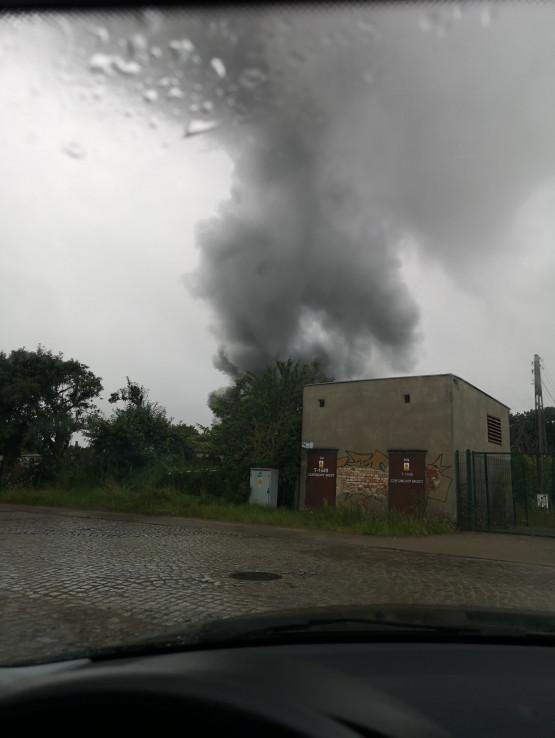 Pożar na Oruni Dolnej w Gdańsku