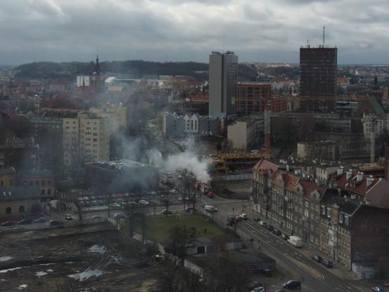 Dym w pobliżu skrzyżowania Rybaki Górne - Wałowa
