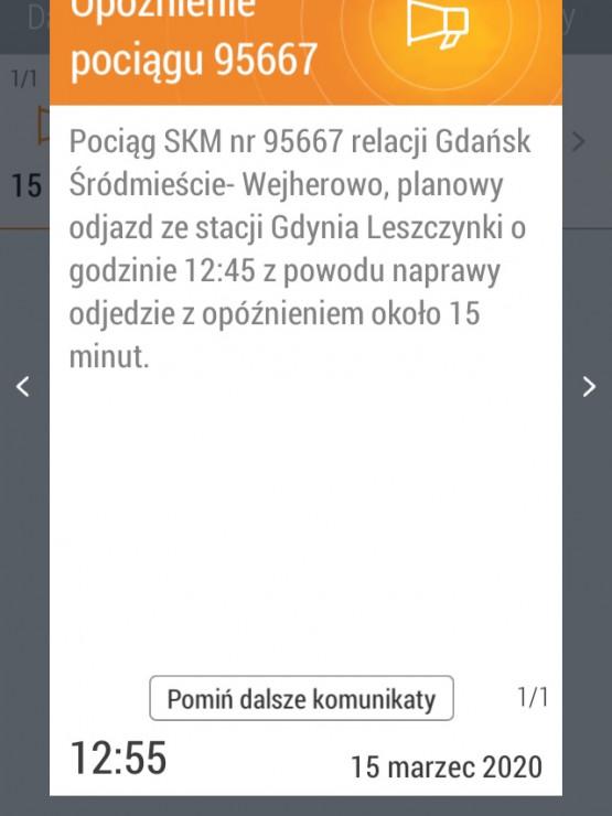 Opóźniony pociąg SKM z Gdańska do Wejherowa