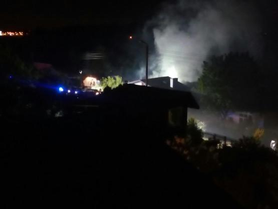 Pożar domku działkowego na terenie ogródków działkowych na Jasieniu