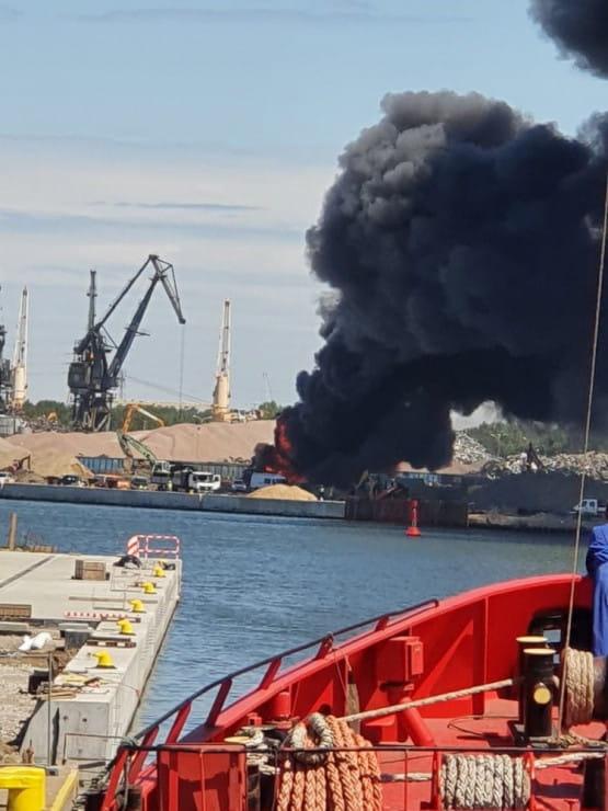 Pożar na terenie portu w Gdańsku