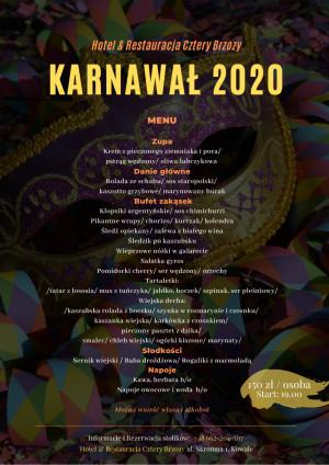 Menu / Bal Karnawałowy 22.02.2020/ Hotel Cztery Brzozy Kowale