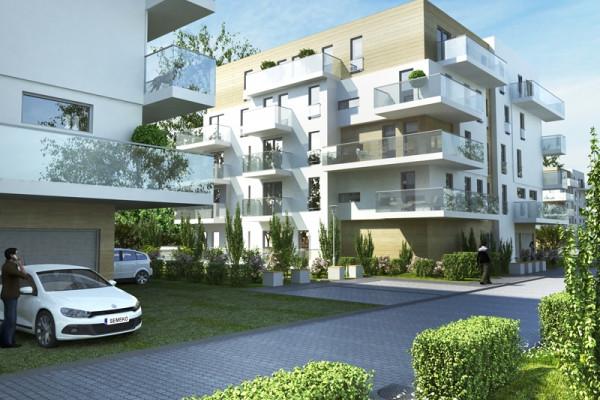 """Prosta architektura budynków stworzy przyjazne otoczenie do życia. Przeszklone balustrady sprawią, że budynki będą """"lekkie"""" i eleganckie."""