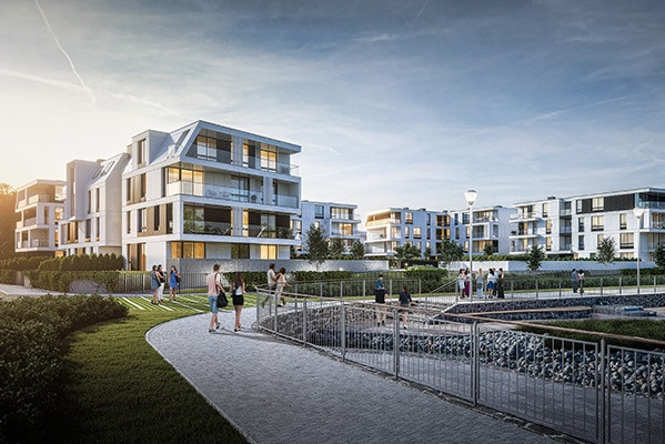 """Budynki osiedla ustawione będą """"w podkowę"""". Z wielu mieszkań rozciągał się będzie zatem widok na zagospodarowany zbiornik wodny."""