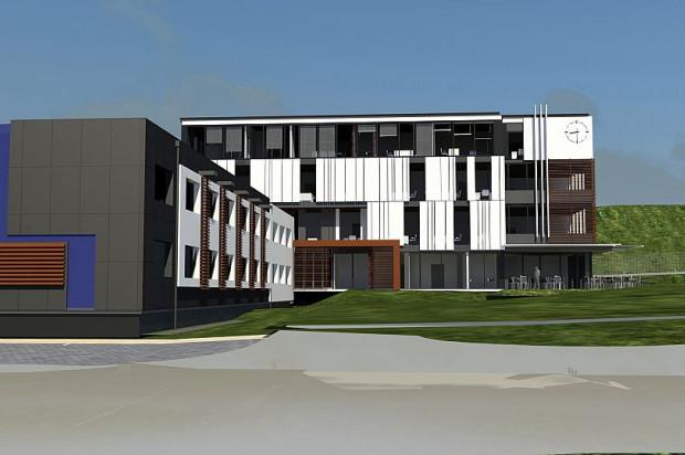Wyższa, czterokondygnacyjna część budynku zostanie dołączona do istniejącej - niższej.