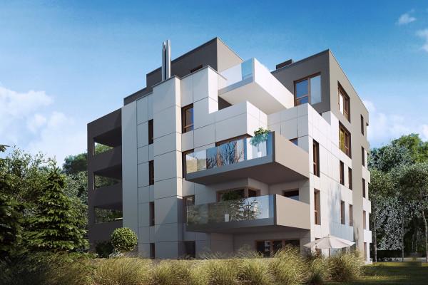 Rozrzeźbiona bryła budynku, duże tarasy i okna. Budynek będzie się wyróżniał ciekawą architekturą i wykończeniem wysokiej jakości.