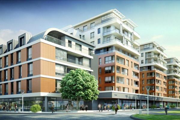 Kwartał zabudowy, który powstał w centralnej części Garnizonu - na wizualizacji widok od strony zbiegu ulic Hemara i Norwida. Widok na budynki Norwida 21 i 19, Hemara 21 i Białoszewskiego 18.