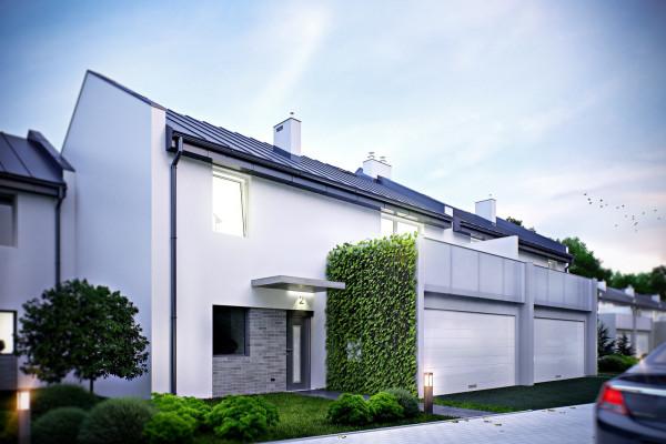 Niewielkie domy w zabudowie szeregowej stworzÄ… kameralne osiedle w rozbudowanej dzielnicy.
