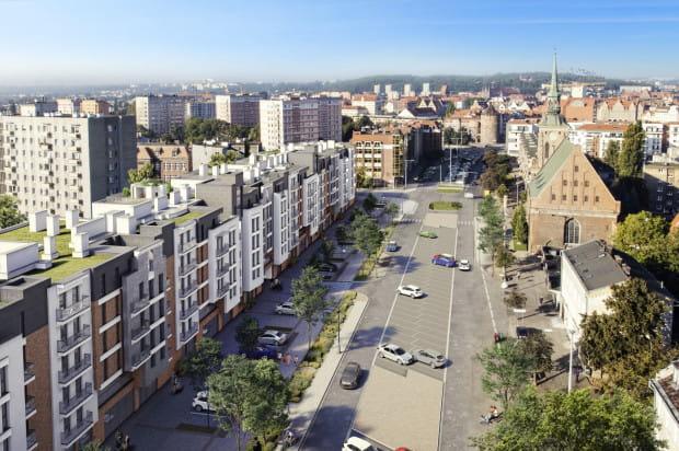 Nowa zabudowa w ciągu ul. Długie Ogrody w ramach inwestycji Garden Gates.