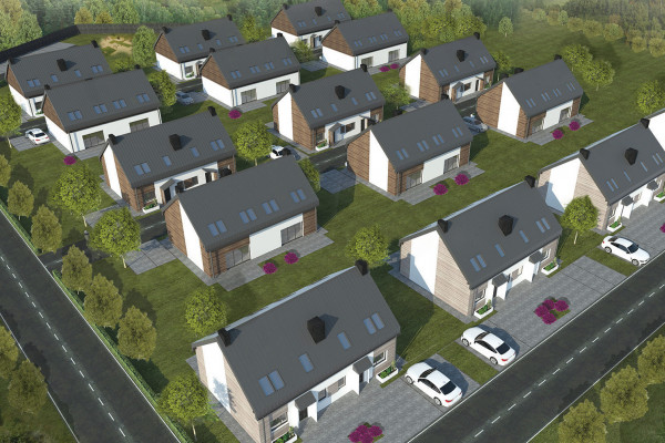 W ramach Orlego Gniazda powstaje 16 budynków z domami jednorodzinnymi.