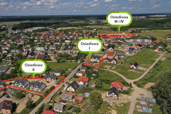 Domy inwestycji Osiedlowa powstają w nieco oddalonych od siebie miejscach przy ulicy Osiedlowej.