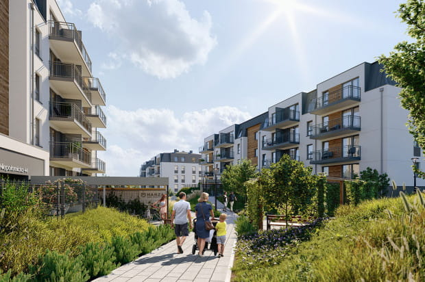 Wnętrze osiedla wypełnione będzie zielenią, która na trenie osiedla wspomagać ma małą retencję.