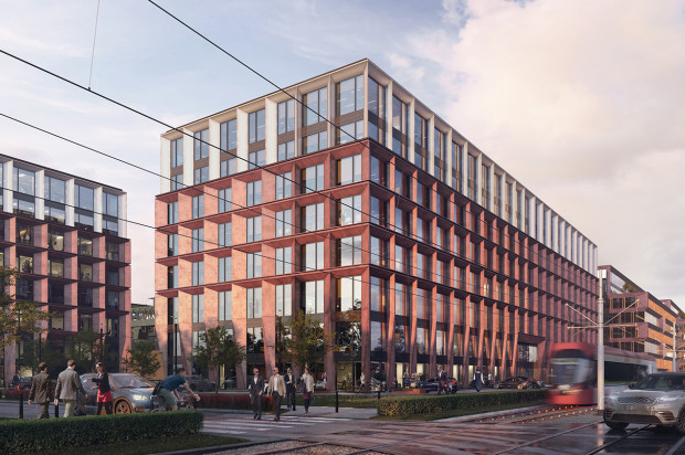 Budynki kompleksu Palio Office Park wykończone będą płytami kompozytowymi w rudym kolorze.