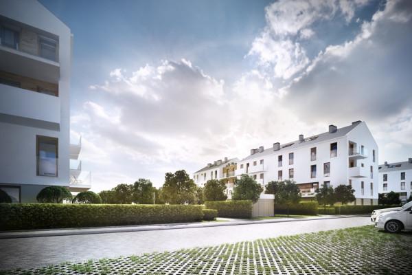 Białe elewacje i przestrzeń między budynkami osiedla Mistral mają dawać przyszłym mieszkańcom poczucie komfortu.