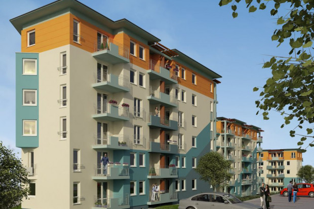 Błękitna Kaskada to sześciokondygnacyjne budynki o zróżnicowanej kolorystyce.mat. inwestora