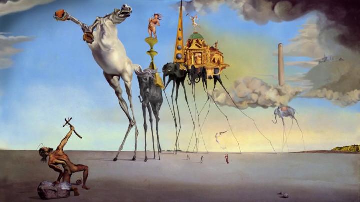 Możemy zobaczyć niezwykłe słonie <strong>Salvadora Dali</strong> kroczące majestatycznie przez pustynię iprzerażenie woczach świętego Antoniego...