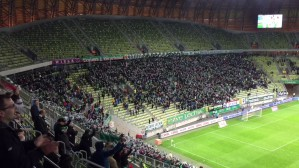 Radość piłkarzy i kibiców Lechii po golu na 2:0 w meczu z Pogonią
