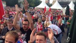 Gol i radość kibiców na meczu z Ukrainą