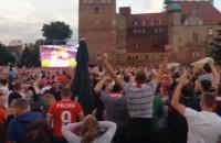 Radosc kibiców po golu w meczu z Portugalią