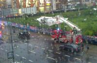 Interwencja strażaków przy zerwanym banerze