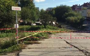 Zamknięty przejazd ul. Pagórkową w Gdańsku