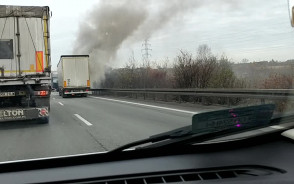 Pożar tira na obwodnicy w kierunku Gdyni