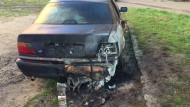 Dwa spalone samochody na Stogach