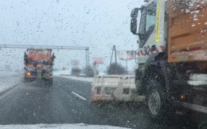 Pługi śnieżne blokują przejazd na obwodnicy