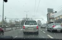 Śnieg przy wjeździe na Wielkopolską w Gdyni