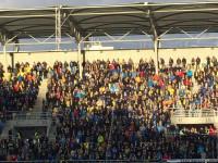 Radość kibiców Arki Gdynia po golu w meczu z Wisłą Płock