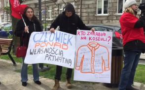 Protest przed siedzibą LPP na ul. Łąkowej