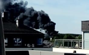 Pożar widoczny z osiedla Sokółka