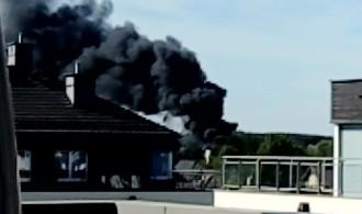 Pożar widoczny z osiedla Sokółka ...