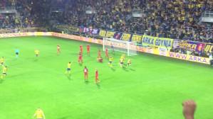 Gol Rafała Siemaszko na 3:2 w meczu Arka - Midttjylland