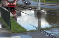 Zalane tory tramwajowe Gdańsk Stocznia