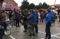 Ekipa filmowa na Targu Węglowym