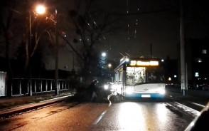 Konar na ul. Chylońskiej. Kierowca i pasażer trolejbusu usuwają przeszkodę