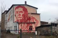 Mural przedstawiający Jarosława Kaczyńskiego
