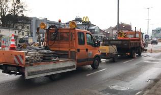 Prace drogowe na Grunwaldzkiej w kierunku centrum Gdańska