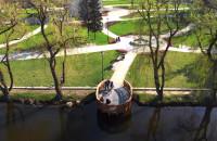 Wiosna w Parku Oruńskim z lotu ptaka
